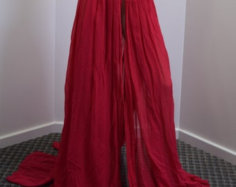 Tie around red chiffon skirt with black lace