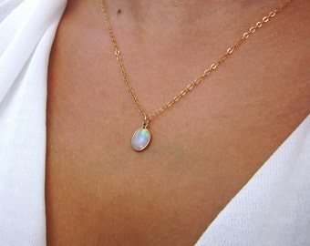 Opal Necklace, October Birthstone, Opal Jewelry, Opal Pendant, Gemstone Necklace, White Opal Necklace, Dainty Necklace, Elegant Necklace