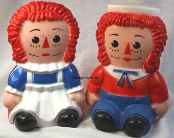 Vintage Raggedy Ann & Andy Toy Banks Play Pal Plastics 1970's