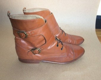 Vintage 80's Brown Leather Ankle Boots with Buckle Monk Straps