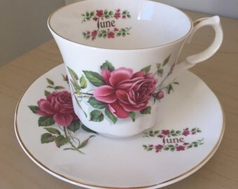 "Springfield ""June"" Pink Rose Vintage Teacup and Saucer, Tea Coffee Cup and Saucer, English Bone China, Flower of the Month, June Roses"