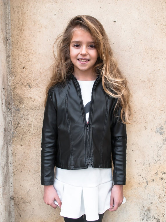Black leather jacket/Faux leather girls outfit/Toddler leather