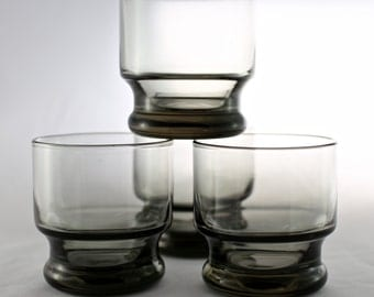 Vintage Smoked Glassware Lowball Glasses - Set of 4