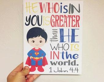 Superman // Superhero // Scripture // Canvas Wall Art // Boy's Room Decor // Baby Shower Gift