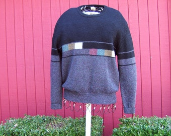 Vintage 1980s Men's Wool Sweater | Color Block | Peter England | Shetland Wool Pullover | Large