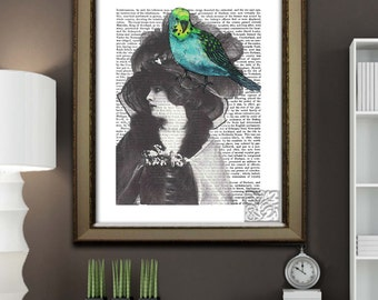 Budgie on Ladies Hat Wall hanging, Green budgie Art Print painting dictionary Art Print