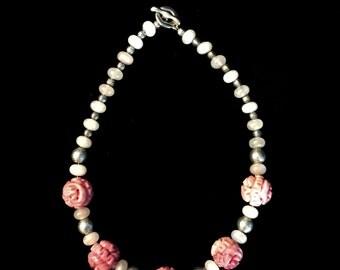 Pink Jade Rosette Necklace, Elegant!