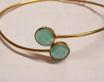 Blue Chalcedony gold plated brass bangle bracelet