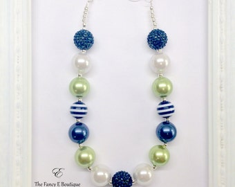Green Navy Blue and White Chunky Bubblegum Beaded Toddler Girls Necklace