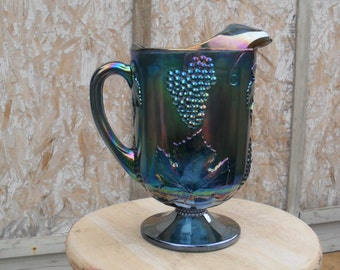 Blue Carnival Glass Pitcher