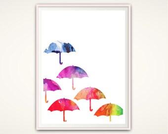 Umbrella Art Print, Umbrella Wall Art, Nursery silhouette, Watercolor Print, Colorful Wall Art, Nursery PRINTABLES, Foyer Wall Decor, Rain