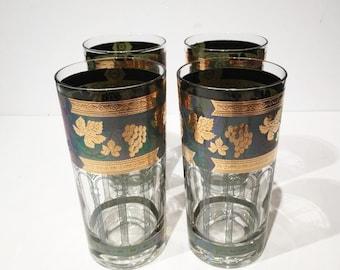 Cera Gold Grape Tall Tumblers, Cera Gold Green Grapes Barware, Golden Grapes & Columns Highball Rocks Glasses, Hollywood Regency Mad Men
