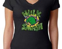 Incredible Hulk Logo V-Neck Shirt, Custom Superhero shirt