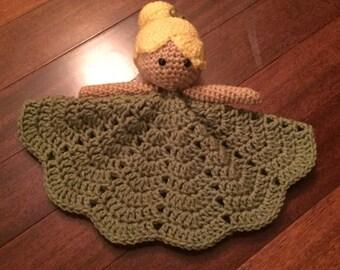 Crochet Disney Inspired Tinkerbell Doll, Lovey, Security Blanket