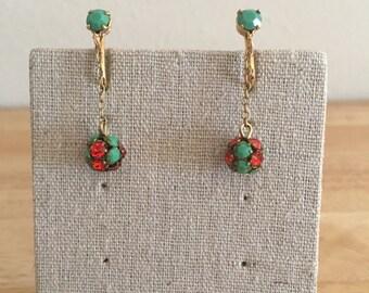Pakula Red and Green Rhinestone Dangle Clip-On Earrings