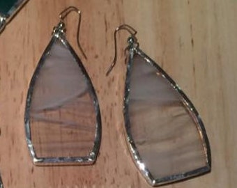 Large White/Clear Stained Glass Earrings