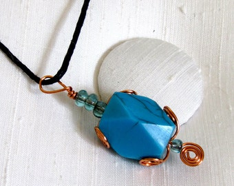 "Turquoise Pendant Necklace ~ Copper Wire Wrapped Acrylic Turquoise Bead ~ Corded Necklace 16"" inches long"