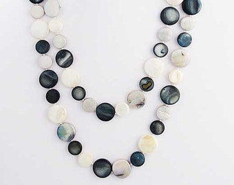 "Black Pearly White 50"" Mother- Of- Pearl Double Strands Necklaces"