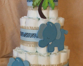 3 Tier Diaper Cake Elephants Wild SAFARI Blue BOY Baby Shower Centerpiece