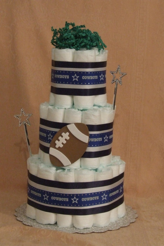 tier diaper cake nfl dallas cowboys football baby shower centerpiece