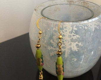 Hand Painted Glass Earring #43