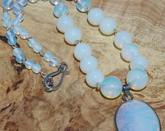 Opal Necklace ~ Opalite Pendant ~ Stone Necklace ~ Formal Wear ~ Healing Stones ~ Wedding Wear ~ Graduation Gift ~ Semi Precious Stones ~