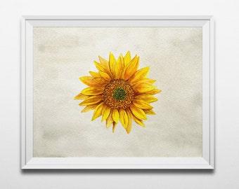 Yellow Flower Wall Art sunflower art | etsy