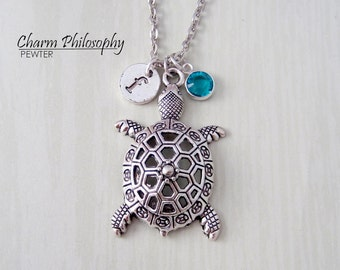 Turtle Necklace - Tortoise Jewelry - Antique Silver Pendant - Monogram Personalized Initial and Birthstone