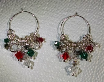 Christmas Spangles Earrings, Brilliant Swarovski Crystals on Sterling Silver Hoops