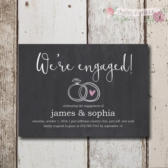 Chalkboard Engagement Party Invitation Printable By: Rustic Engagement Invites Instant Download Printable