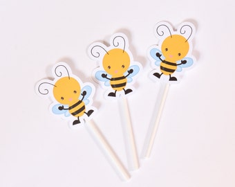 12 Bee Cake Toppers