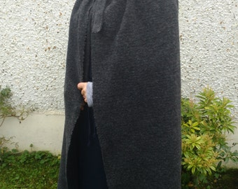 Medieval wool cloak - 100% wool - worsted wool - Broadcloth - charcoal  - HANDMADE IN IRELAND - ready for shipping