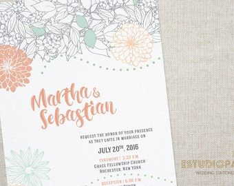 Printable Wedding Invitation - Leafy Garden - Wedding Stationery Download - UM Collection