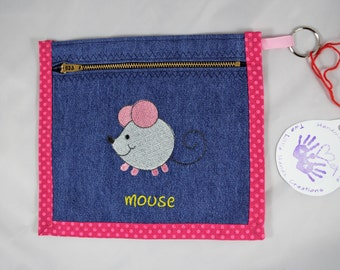 Mouse Coin Purse/ Pencil Pouch. Denim. Key Chain. Free Shipping.