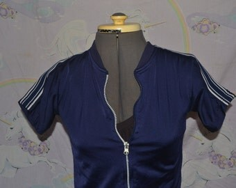 Vintage Zip-up Zippered Sporty Navy and White 70s Athletic Shirt XS/S