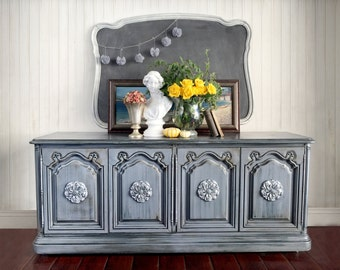 SOLD - Dresser, Shabby Chic Dresser, Vintage, Buffet, Grey, Painted Furniture, Hand Painted, Romantic, Boho, Cottage, TV Console