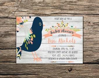 Bird baby shower invite Boy Printable bird invite Boy baby shower invite Bird Printable baby shower invite Blue bird invite Bird Baby shower