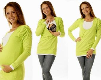 3 in 1 Bellys breastfeeding shirt Green long sleeve maternity wear