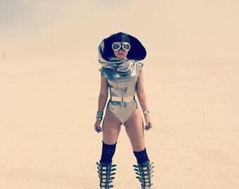 Galactic burner Metallic Hooded Bodysuit