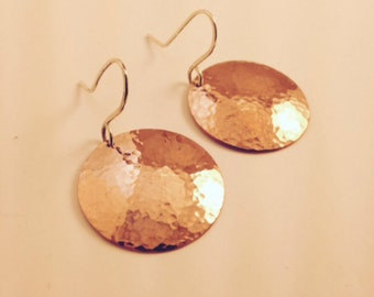 Forged Copper Disc Earrings; Hammered Copper Disc earrings; Artisan Copper Disc Ears; Forged and Domed Copper Ears; Copper and sterling ears