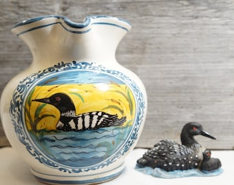 Bird Pitcher/Loon Pitcher/Vintage Water Pitcher/Loon Painting/Pitcher/Vintage Bird Pitcher/Rustic Pitcher/Made In Italy/Loon Decor/Loon