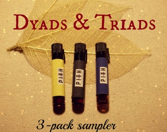 Pith Fragrances Dyads & Triads Collection perfume oil: sample pack of 3 1ml vials