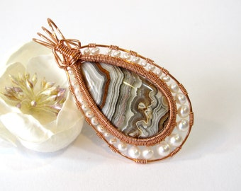 Crazy Lace Agate Wire Wrapped Pendant, Unique Copper Wire Wrapped Pendant with Semi Precious Stone and Freshwater Pearls, Handmade Jewelry
