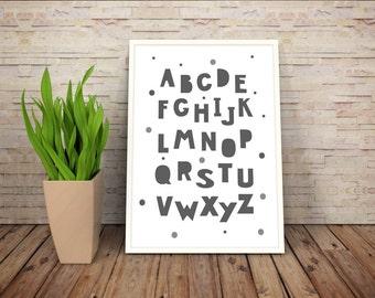 LPR015 ABC poster print alphabet poster Nursery print poster monochrome poster print educational print poster wall art scandinavian style