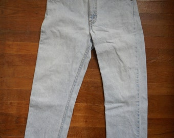 vintage levis 505 orange tab high waisted faded blue jean ripped denim altered W31 L25