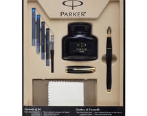 Parker Fountain Pen Set | Medium Point Urban Parker Pen Gift Set, Black w/ Gold Trim | Gifts For Writers | 4 Ink Cartridges |Calligraphy Pen
