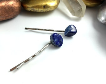 Crystal Hair Pins, Lapis Lazuli Hair Pins, Bobby Pins, Hair Pins, Lapis Bobby Pins, Lapis Lazuli Hair Pins, Blue Hair Pins, Blue Bobby Pins