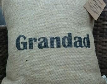 Hessian Grandad grandpa name cushion cover jute burlap