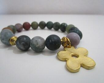 Agate bracelet india sawing, bracelet semi-precious stones, flower pendant plated gold 22k, bracelet for women, gift for woman