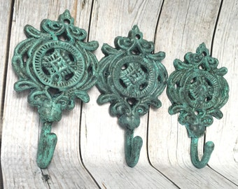 Set of 3 Cast Iron Hooks - Verdigris/ or Pick Color - Entryway Coat Hooks - Bathroom Wall Hooks - French Country Decor - Shabby Chic Decor